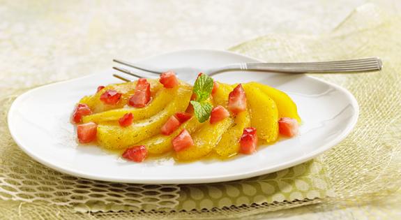 Salteado de melocotones con fresas