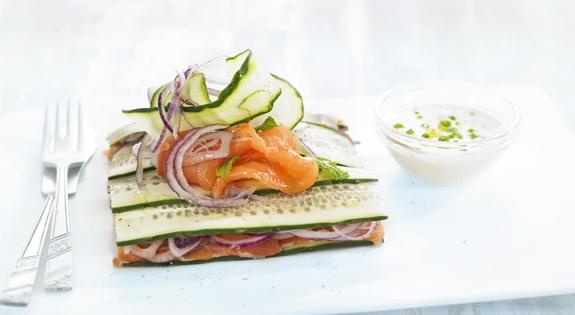 Receta de Milhojas de salmón ahumado