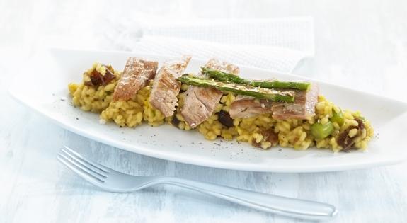 Receta de risotto de esparragos verdes con secreto iberico