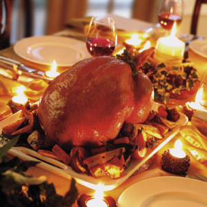 Pavo relleno, también un plato típico en Canadá