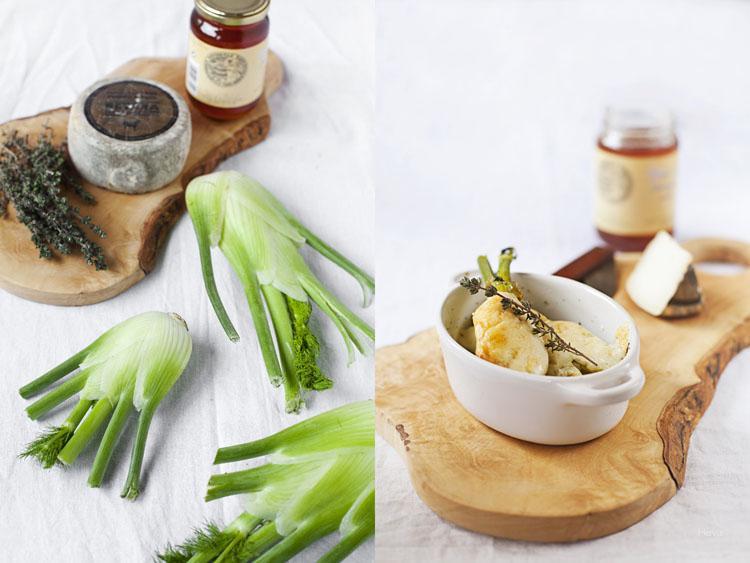 hinojos braseados e ingredientes