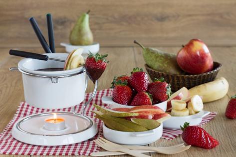 Fondue de chocolate y toffee con frutas frescas