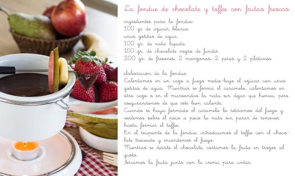 Receta Fondue de chocolate y toffee con frutas - Genuinus