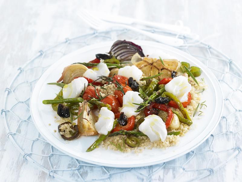 quinoa con verduras y bacalo