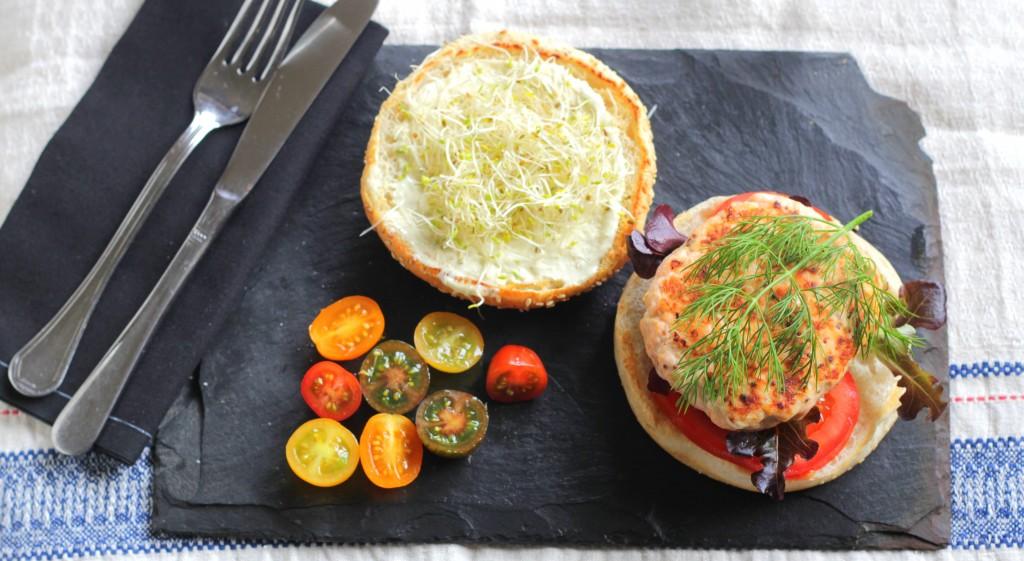 Burger de salmón noruego casero