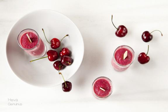 Helado vegano de cerezas