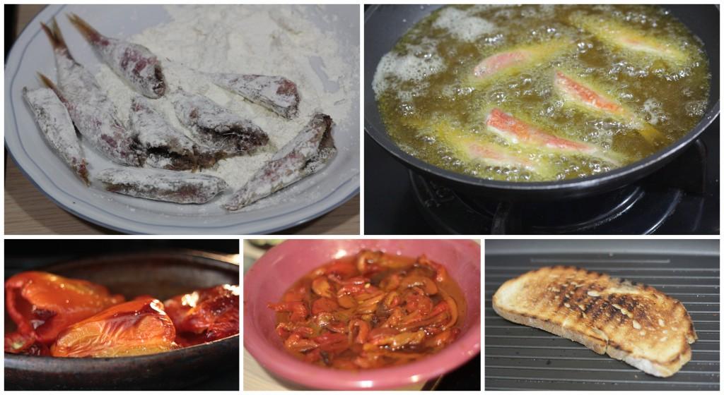 Elaboración de tosta de salmonetes y pimientos asados confitados