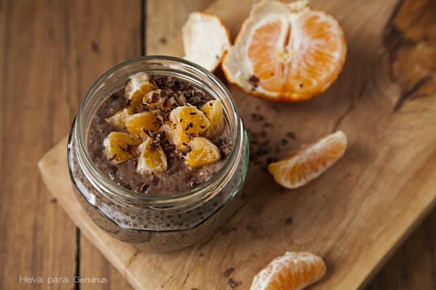 pudin de chia y chocolate con mandarina by heva