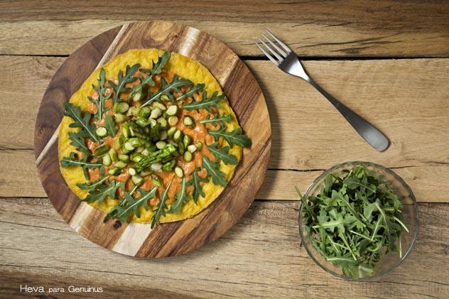 Pizza vegana de polenta