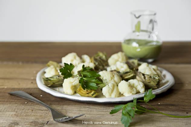 verduras al vapor con humus de calabacin