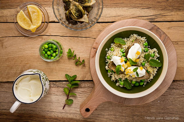 Alcachofas al horno con quinoa
