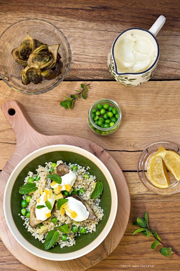 Quinoa, alcachofas y guisantes